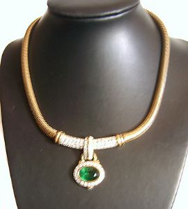 Vintage Bijoux Givenchy Necklace/Choker with Emerald Drop in Original Box